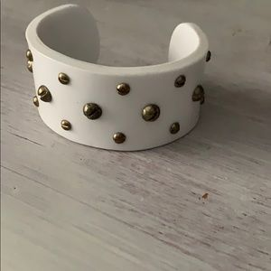 White with bronze gold studded cuff bracelet